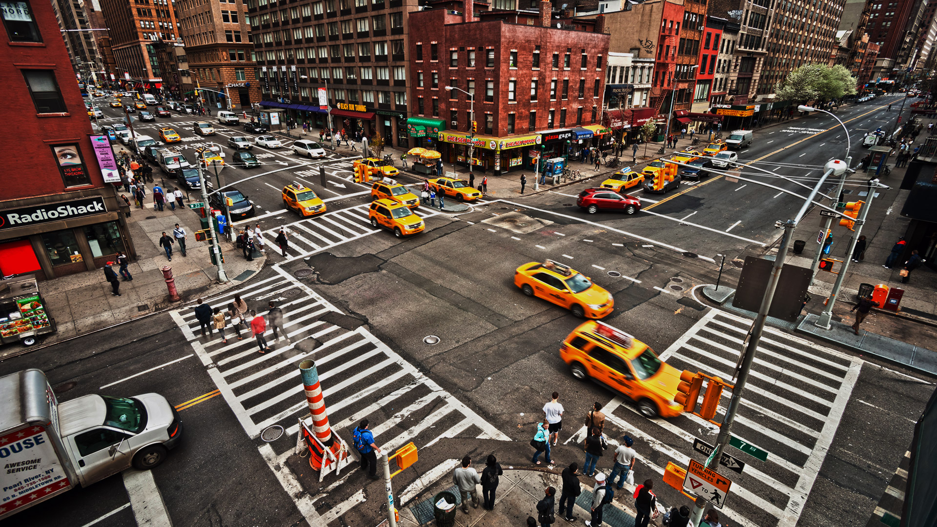Turning accidents busy intersection at traffic lights